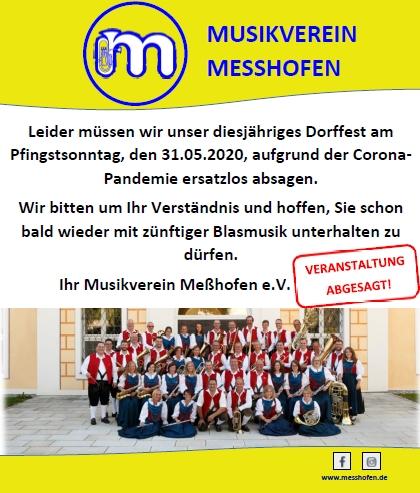 MVM Absage Dorffest 2020 Messhofen